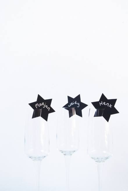 Stars on wine glass